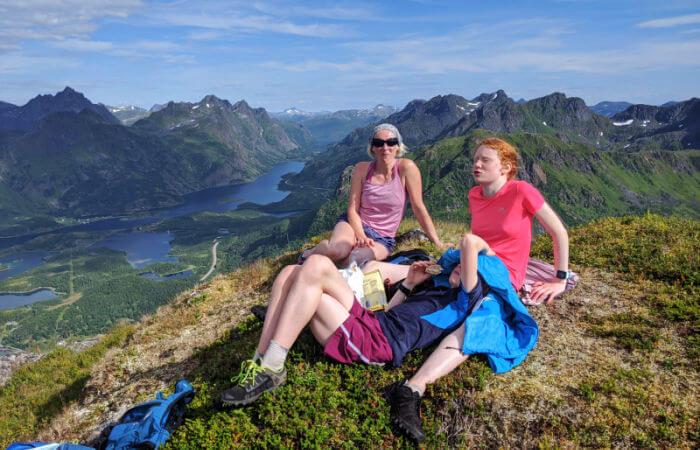 Norway itineraries - mother and children hiking in stunning Norwegian scenery