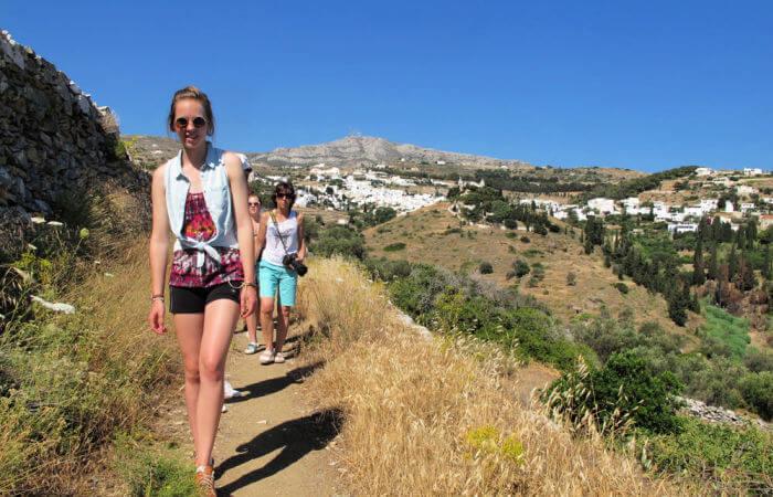 Greece family holiday activities - family walk on Amorgos