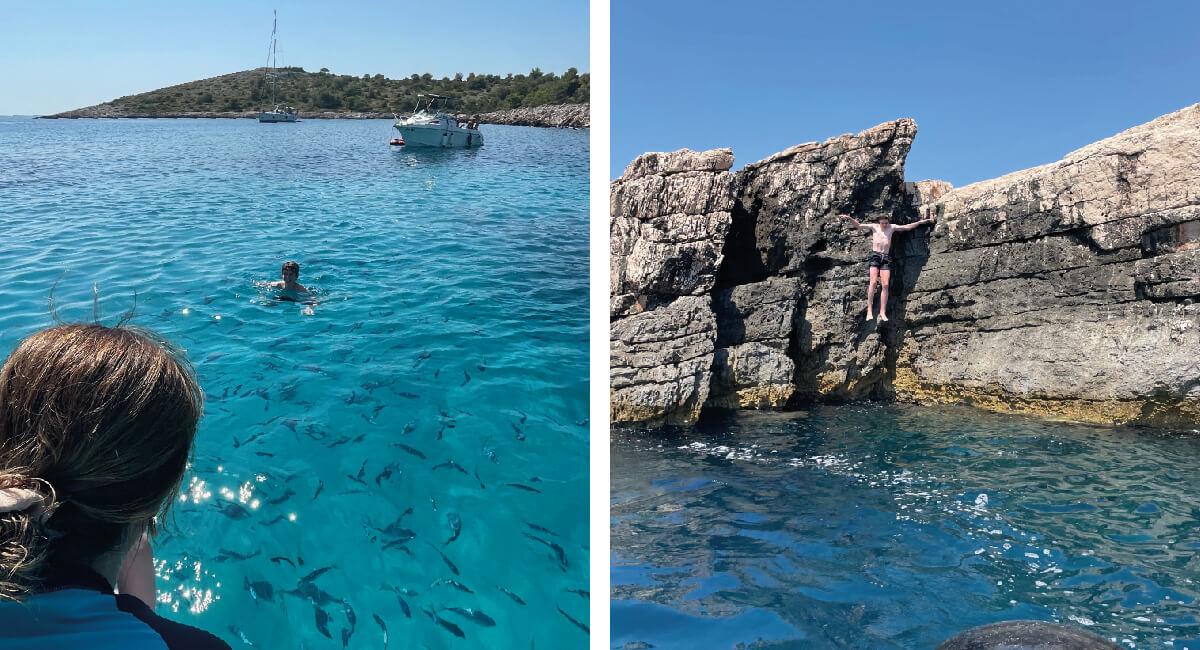 Swimming and jumping from rocks - Kornati - Croatia in photos